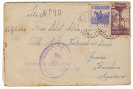 Sobre De Marruecos A  Barcelona. 1944. Con Sellos 239 Y Beneficencia 24. Censura Militar. - Maroc Espagnol