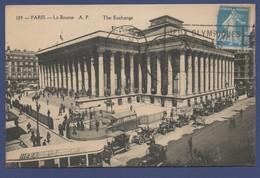 PARIS La BOURSE  The EXCHANGE N° 189 / Voyagée En 1924 Cachet Jeux Olympiques  / Animée TRAM Citroen B2 Taxi - Andere Monumenten, Gebouwen