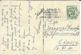 "Yugoslavia  1956 Zagreb Postcard - Slogan / Flamme ,,ISKRA - Tvornica Kemiskih Proizvoda - Zagreb HEINZELOVA Ul.  "" - 1945-1992 Socialistische Federale Republiek Joegoslavië"
