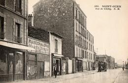 93. CPA. SAINT OUEN. Rue De Clichy, Maréchalerie Marius Dubuis Commerces, Camion Ancien. - Saint Ouen