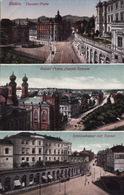 Bielitz (Bielsko-Biała) - Theater-platz, Kaiser Franz Joseph-Strasse, Schlossbazar Mit Tunnel - Pologne