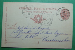 1900 ITALIA Cartolina Postale - Postal Stationery 10 Centessimi, Seals: NANTA CUNEO, CIVITAVECCHIA ROMA - Interi Postali