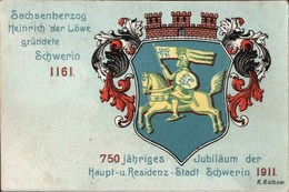 ! Alte Ansichtskarte Aus Schwerin, 1911, Wappen, 750 Jähriges Jubiläum, Mecklenburg - Schwerin