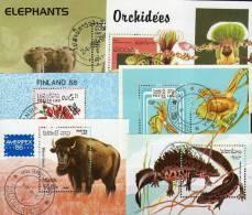 6 Motive Blocks Tiere Elefant Laos Block O 10€ Bison Reptilien Blumen Orchidee Hb Fauna Blocs Flora Sheet Bf Topics - Stamps