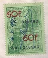 BELGIQUE - TIMBRE FISCAL 60 F - Vert (Oblitéré) - Timbres