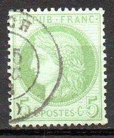 FRANCE - 1872 - Emission Dutype Cérès , IIIème République - N° 53 - 5 C. Vert-jaune Sur Azuré - 1871-1875 Ceres