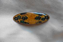 Broche Ancienne Ovale En Email A Fleurs De Style Art Nouveau Mucha Or Bleu Fonce Et Vert - Brooches