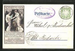 AK Nürnberg, Jubiläums-Landes-Industrie-Gewerbe & Kunstausstellung 1906, Engel Mit Löwen - Expositions