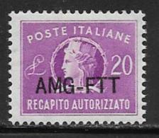 Trieste Zone A Scott # EY5 Mint Hinged Italy # EY9 Overprinted, 1952 - 7. Trieste