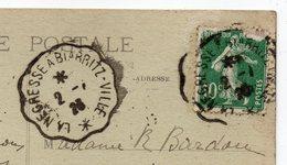 """Cachet Ambulant """"LA NEGRESSE à BIARRITZ-VILLE"""" Sur Tp Type Semeuse Sur CPA  St Jean De Luz-64 - Marcophilie (Lettres)"""