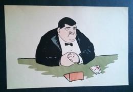 Caricature,litho Ancienne Joueur De Carte, Poker Par DON 1920 - Lithographies