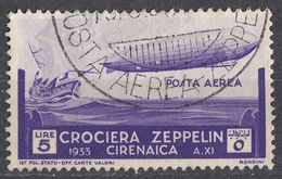 CIRENAICA (OCCUPAZIONE ITALIANA) - 1933 - Posta Aerea Unificato 13, Obliterato. - Cirenaica