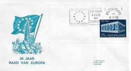 """Pays-Bas Netherlands 1969 Envelope Avec Cachet """"20 Ans Du Conseil De L'Europe"""" - Period 1949-1980 (Juliana)"""