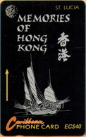Saint Lucia - STL-14F, GPT, Memories Of Hong Kong, Ships, 40 EC$, 15.000ex, 1994, Used - Santa Lucía