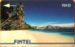 Fiji - FIJ-FI-2, GPT, Fintel, 1CWFB, Palms & Beach, Beaches, Palm-trees, Sea, 10$, 10.500ex, 1993, Used - Fiji