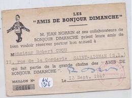 LES AMIS DE BONJOUR DIMANCHE-CARTE DE L EMISSION PRESENTEE PAR JEAN NOHAIN- 1947 - Tickets D'entrée