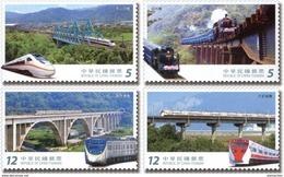 Taiwan 2017 Railway Bridge Stamps Train Railroad River - 1945-... Republic Of China