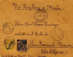 "1893 - Enveloppe De TAHITI Pour Les Philippines "" Via Hong Kong  Affr. Y & T N° 14 Et 15 - Vendu En L'état - - Tahiti (1882-1915)"