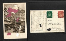 Germany, 1m, 5m Air Mail Stamps Used On Card, FRANKFURT (MAIN) WEST 13  M  21.8.22 C.d.s. - Germany