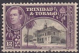 Trinidad & Tobago 1938 - 44 KGV1 12ct Town Hall SG 252 ( G1415 ) - Trinidad & Tobago (...-1961)