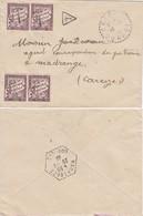 CORREZE ENV 1939 50C DUVAL X 4 TAXE DE MADRANGES AGENCE POSTALE SUR ENV ORIGINE RECETTE DISTRIBUTION EYREIN - 1849-1876: Classic Period