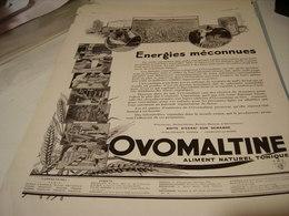 ANCIENNE PUBLICITE ENERGIE MECONNUES OVOMALTINE 1930 - Posters