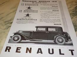 ANCIENNE PUBLICITE AUTO NOUVEAUX MODELES RENAULT 1931 - Publicités