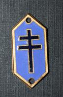"""WWII - Petite Plaque émaillée à Déterminer - Résistance """"Croix De Lorraine"""" Général De Gaulle WW2 - 1939-45"""