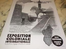 ANCIENNE PUBLICITE  EXPOSITION  COLONIALE PARIS 1931 - Publicidad
