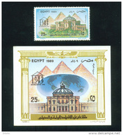 EGYPT / 1989 / AIRMAIL / CENTENARY OF INTERPARLIAMENTARY UNION / PYRAMIDS / GLOBE / MNH / VF - Egypt