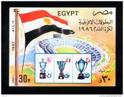 EGYPT / 1987 / SPORT / EGYPTIAN FOOTBALL VICTORIES / AFRICA CUP / ZAMALEK / AHLY / CAIRO STADIUM / FLAG / MNH / VF - Egypt
