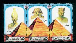 EGYPT / 1988 / THE GREAT PYRAMIDS OF GIZA : KHUFU ; CHEPHREN & MENKAURE / EGYPTOLOGY / MNH / VF - Egypt