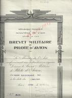 MILITARIA AVIATION MINSTÉRE DE L AIR BREVET MILITAIRE DE PILOTE D AVION CAPORAL SCOUBART PAUL ECOLE TAMPON ISTRES 1940 - Aviation