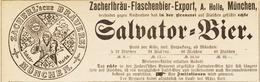 Original-Werbung/ Anzeige 1895 - SALVATOR-BIER - ZACHERL'SCHE BRAUEREI - MÜNCHEN - Ca. 140 X 45 Mm - Pubblicitari