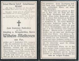 Sterbebild Wk1 Bidprentje Avis Décès Deathcard - Wilhelm Asselhoven ° Pier + Heldentod Für Das Vaterland 9 Sept. 1916 - Religion & Esotérisme