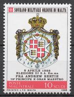 SMOM 1988 Sas# 283** ELECTION OF GRAND MASTER FRA 'ANDREW BERTIE, COAT OF ARMS - Malte (Ordre De)