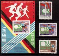 Uruguay-1974,(Mi.1302-1304,Bl.),  Football, Soccer, Fussball,calcio,MNH - Coppa Del Mondo