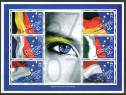 GIBILTERRA / GIBRALTAIR 2007** - 50th Anniversary Of The Treaty Of Rome - Block MNH, Come Da Scansione. - Francobolli