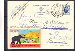Belgique - Carte Postale De 1934 - Oblit Lede - Exp Vers Bruxelles - Réexp Vers Roulers - Chocolat Côte D'Or -éléphant - Belgien