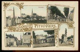 Souvenir De Pithiviers - Multivues - Gauffrée - Eglise Panorama Boulevard Statue - Pithiviers