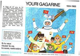 "S S A/Buvard  Sécurité Sobriété Info Alcolisme ""Youri Gagarine"" (Frt 20 X 14) (N= 4) - Buvards, Protège-cahiers Illustrés"