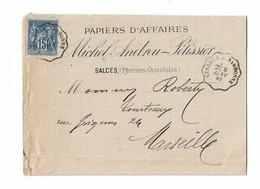Ambulant Ferroviaire CERBERE A NARBONNE 1882 SALCES Pour MARSEILLE - Poststempel (Briefe)