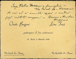 100 S. NICOLO' , FERRARA 1948 , NOZZE ORESTE BUZZONI LINA FUCA' - Annunci Di Nozze