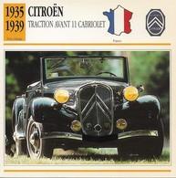 Fiche Editions Atlas Automobile Post-Vintage Citroën Traction Avant 11 Cabriolet - Voitures