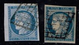 B5-N°4 Bleu Et Bleu Foncé Papier Jaunatre  Sans Défaut - 1849-1850 Cérès