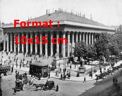 Reproduction D'une Photographie Ancienne D'une Vue De La Bourse De Paris Avec Les Omnibus - Reproductions