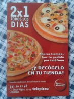 ANTIGUO CALENDARIO OLD CALENDAR DE BOLSILLO MANO PUBLICIDAD ADVERTISING TELEPIZZA PIZZA PIZZAS 2008 COMIDA FOOD LOGROÑO - Tamaño Pequeño : 2001-...