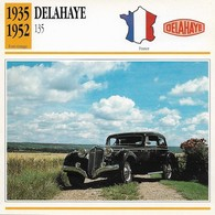 Fiche Editions Atlas Automobile Post-Vintage Delahaye 135 - Voitures