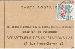 N°1233 Sur Carte Réponse EDF Du 13/10/62 - Marcophilie (Lettres)