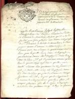 """1723 - Généralité De MOULINS - Cachet  """"""""UN SOL - 4. DEN.""""""""   Sur Document 4 Pages - Cachets Généralité"""